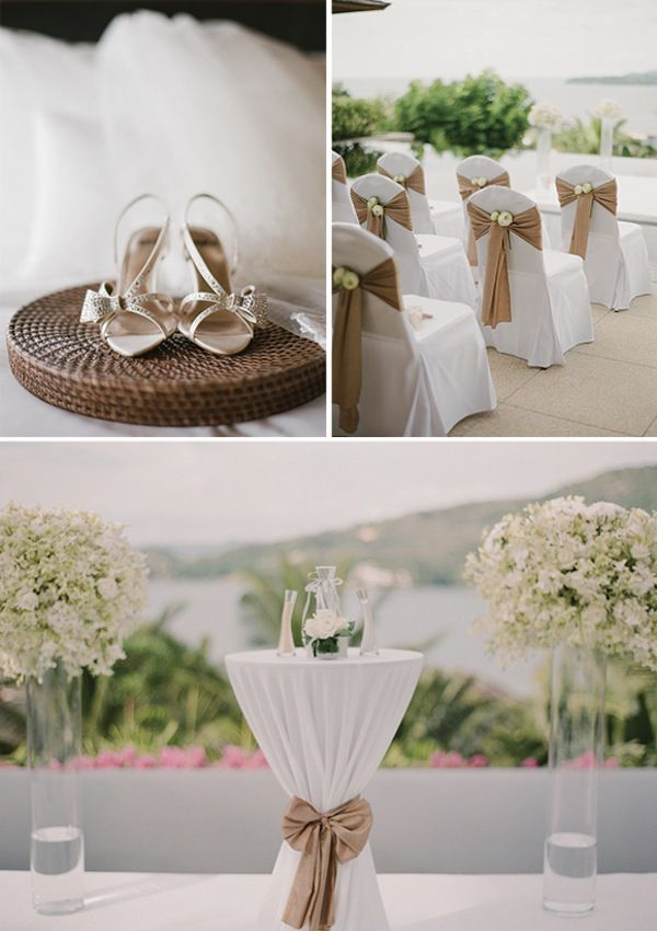 Rent chair covers for an outdoor ceremony Flower accent
