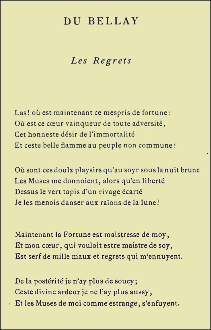 Les Regrets Du Bellay Analyse : regrets, bellay, analyse, Joachim, Bellay, (1522-1560), Française