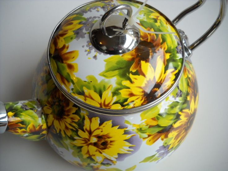 country kitchen canister sets ceramic danze opulence faucet rataly sunflower tea kettle new | more sunflowers ...