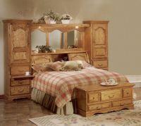 Cedar Lined Red Oak Wood Mirrored Bed Headboard Storage ...