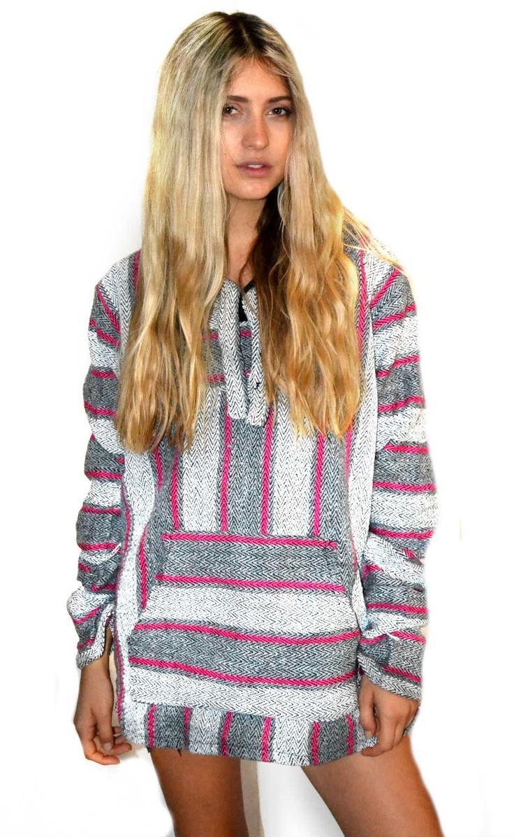 Upcycled Baja Hoody  Pink Stripe 49  VMP WOMENSWEAR