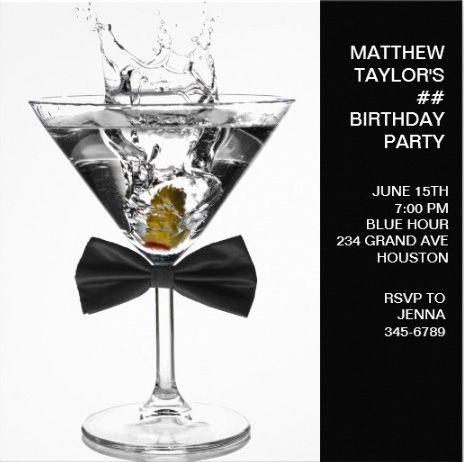 Classy Bowtie Cocktail Men's Birthday Party Invitations
