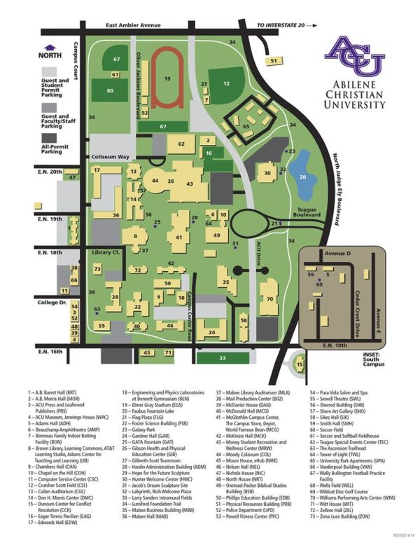 Campus Map Abilene Christian University Texas Our