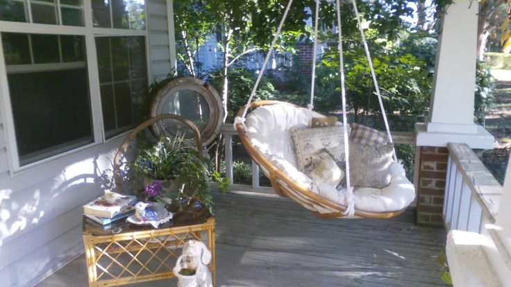 Porch swing made from papasan chair  My doins