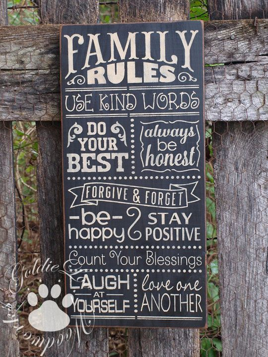 Family Rules 2 Chalkboard Art TypographyWord Art