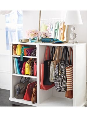 Love this idea for an entry way or large closet. Take a dresser, remove drawers and add shelves. Good for bags, clutches and/or