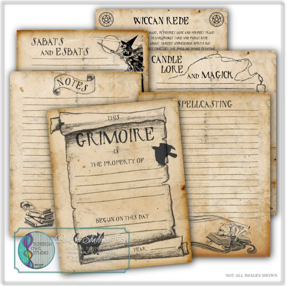 Book of Shadows Grimoire Journal Pages Elements