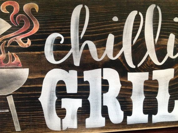 Chillin and Grillin BBQ sign wood primitive fathers day patio signs barbeque  porch decor