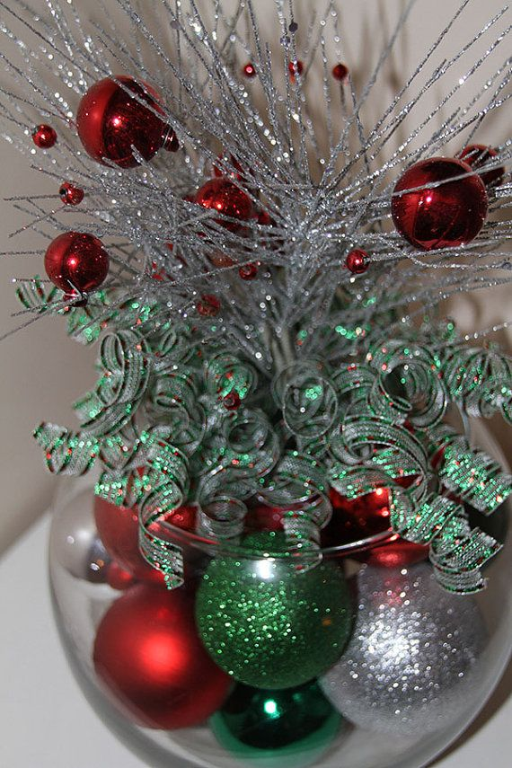 Christmas Centerpiece  Red Green and Silver Holiday