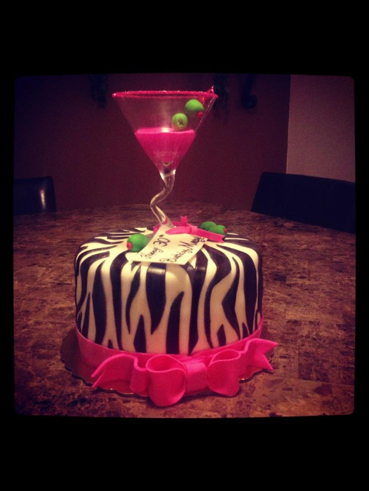 Zebra Print Cocktail Cake Birthday Pinterest Cakes