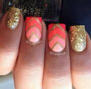 orange pink and gold nail design