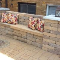 Brick bench w/pillars n light post on slate top ...