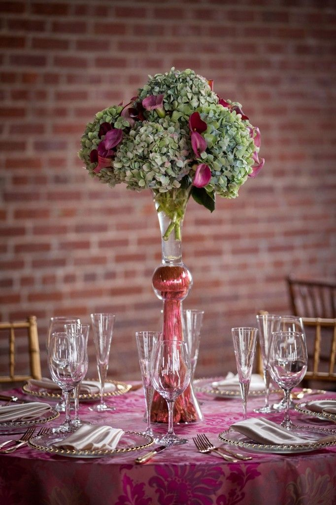 Double pilsner vase with mixed antiqued hydrangea and calla lilies  Bergerons Receptions