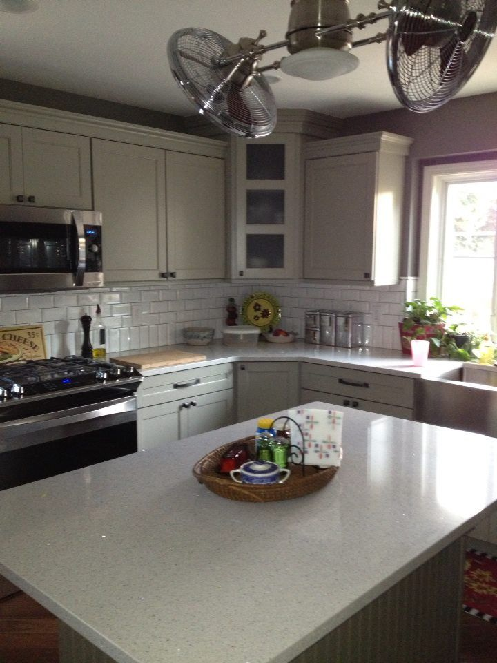 kitchen cabinets to go inexpensive flooring options for lovely quartz (stellar snow) counters with mirror flecks ...