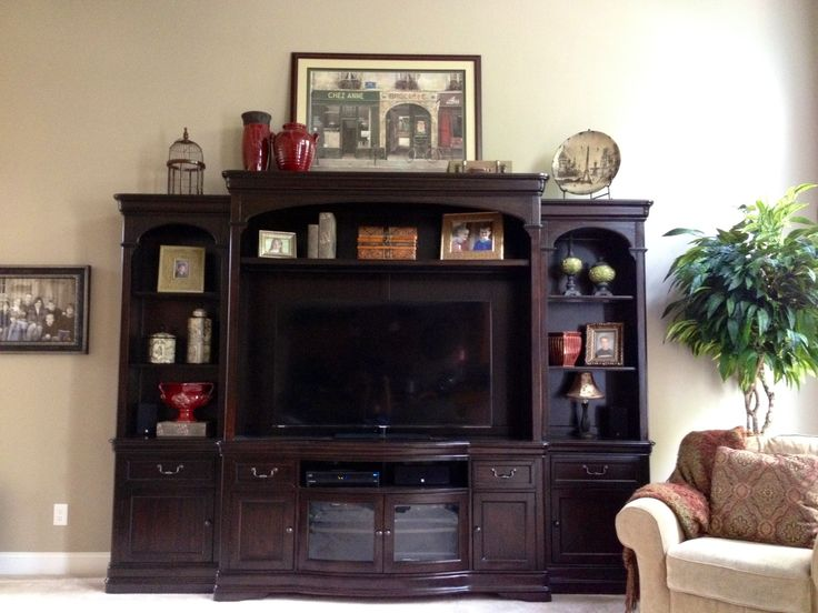 Entertainment center decor  Home  Pinterest  Birds