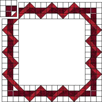 Awesome How-To for an intertwined border, made on a small scale from half-square triangles or on a larger scale with log cabin or