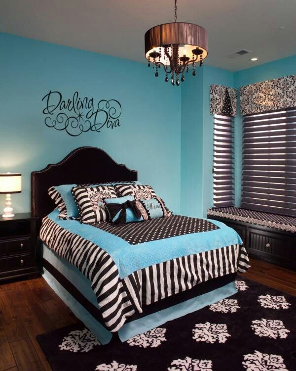 Cute teen bedroom blueblackwhite  Mollys Room  Pinterest  Cute girls bedrooms Patterns