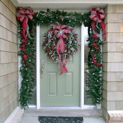 christmas doorway decorated