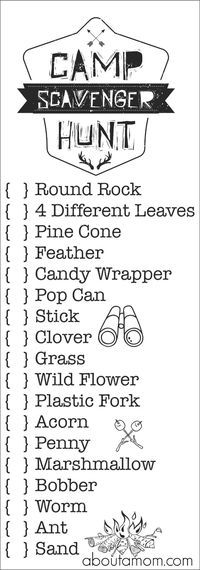 1000+ ideas about Camping Scavenger Hunts on Pinterest