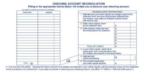 checking account balance sheet