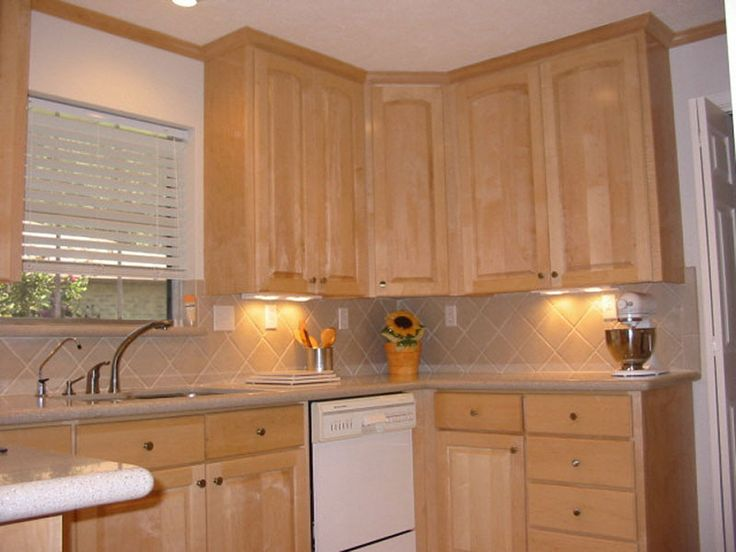 natural maple cabinets with white appliances  White