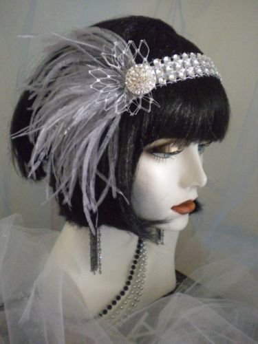 1920s headpiece Flapper headband Old Hollywood Silver