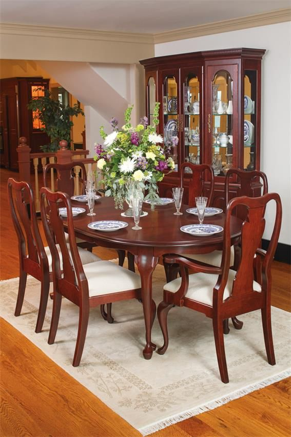 Queen Anne Cherry Wood Dining Table  Queen anne Chairs