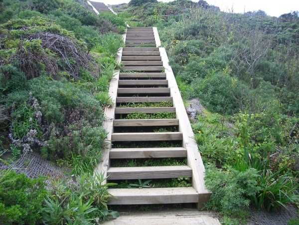 Wooden Outdoor Stairs and Landscaping Steps on Slope