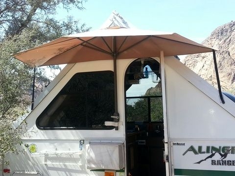 Homemade Half Umbrella Awning For Aliner Aliner Camper