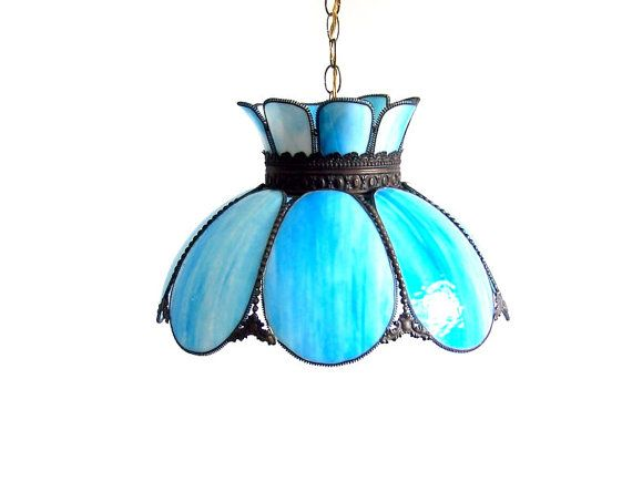 bronze kitchen chandelier mexican style decor vintage stained glass lamp tulip swag pendant blue white ...