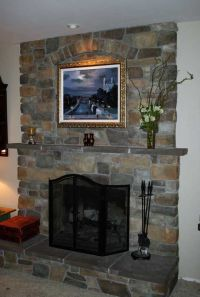 Fireplace resurfacing - with a TV and wood stove insert ...