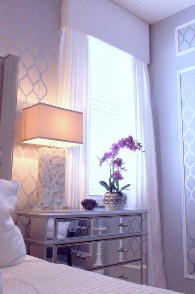 Purple Aubergine Master Bedroom Grey Walls Casablanca Wall Stencil Zgallerie Bed