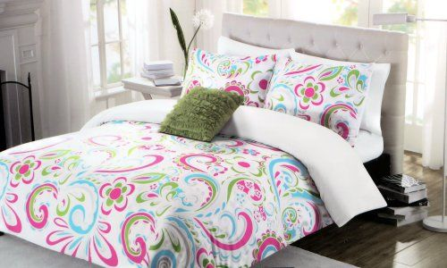 Comforter Set Twin Xl Extra Long Large Paisley Pink Green