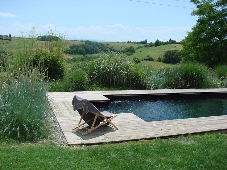 Piscine avec liner noir effet piscine naturelle Swimming pool with black liner natural