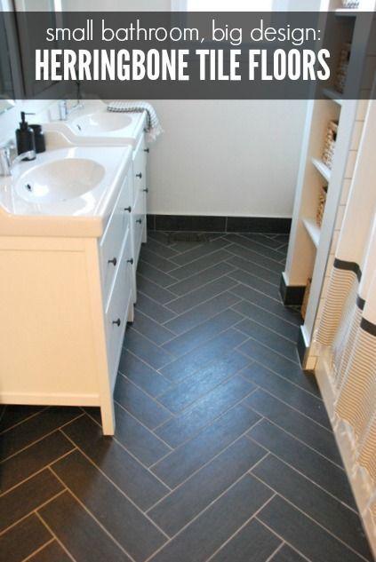 bathroom design herringbone tile floor  IKEA vanities