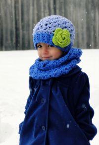Kids Hat and Scarf Set, crochet girls hat, crochet ...