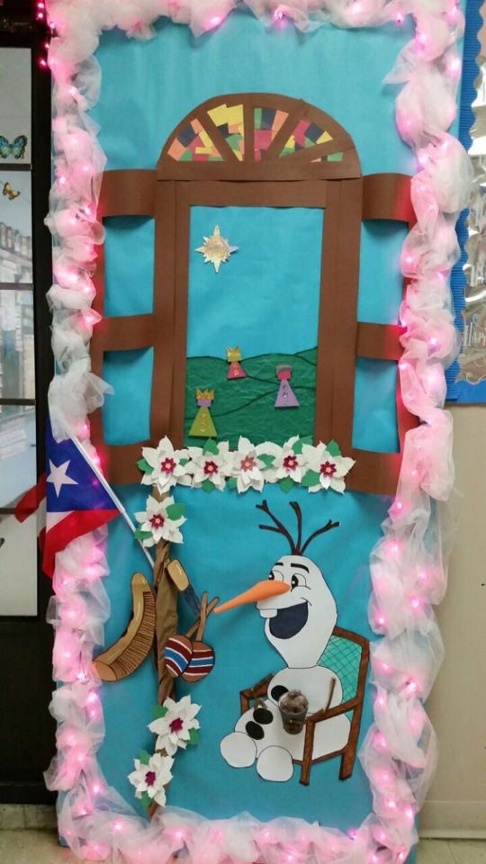 Olaf frozen three Kings Puerto Rico Christmas door