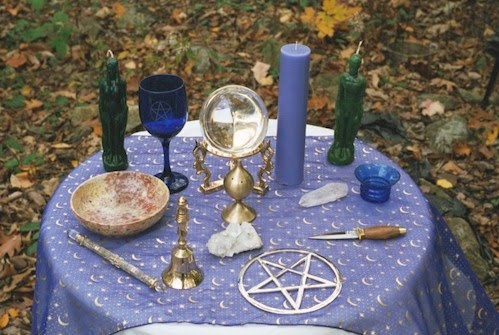 Pagan or Wiccan blueviolet with cresent moons table altar