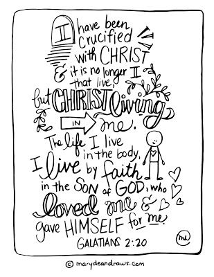 I have been crucified with Christ Galatians 2:20 printable