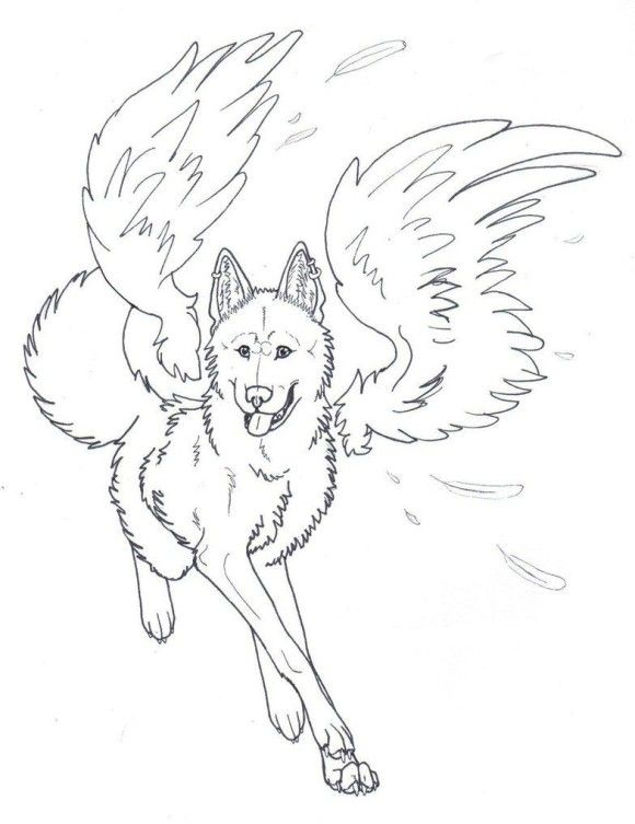 Winged Wolf Angel Coloring Pages Printable