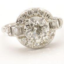 Platinum Diamond Engagement Ring, c. 1945