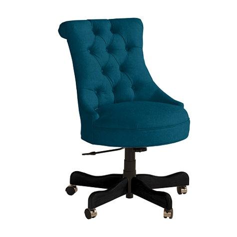 Elle Tufted Desk Chair in velvet teal 724  decor