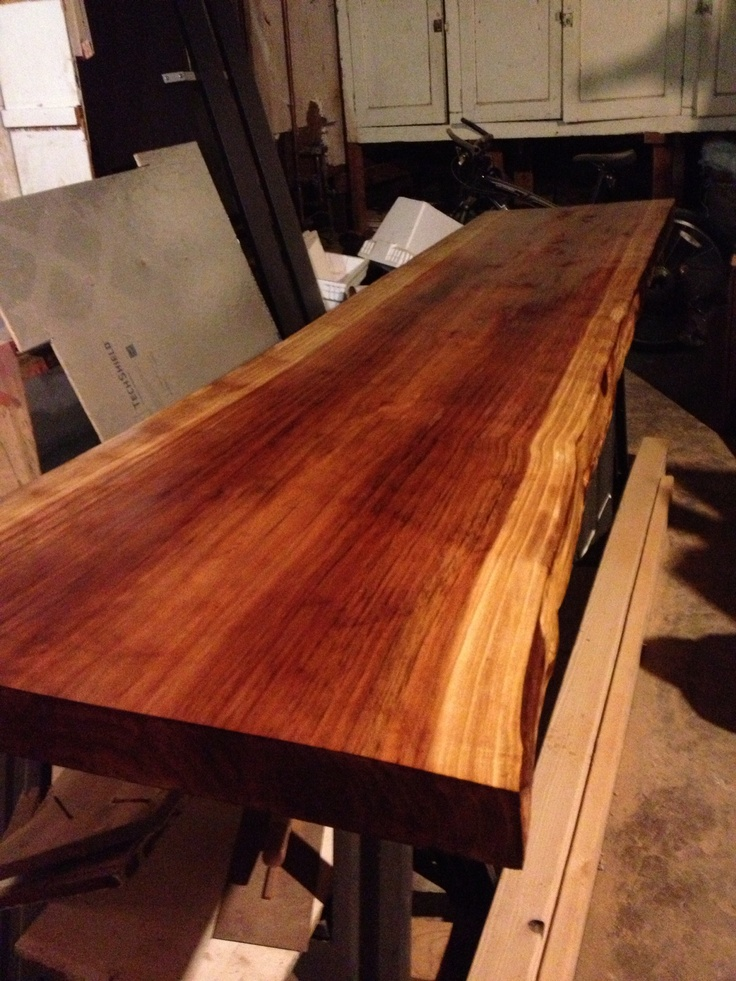 all wood kitchen table block final stain on redwood slab (future dining table) | things ...