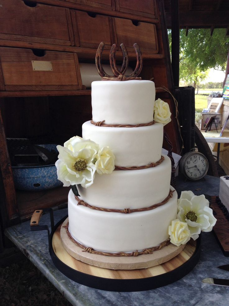 20 best images about Cakes  Barb Wire Wedding cakes on Pinterest  Fondant horse Birthday