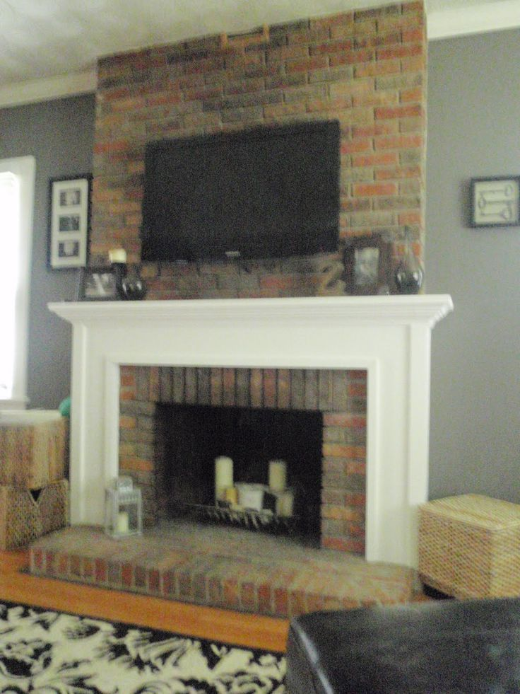 how to decorate living room with tv over fireplace black furniture blue walls updating a brick wall | ... and high heels: