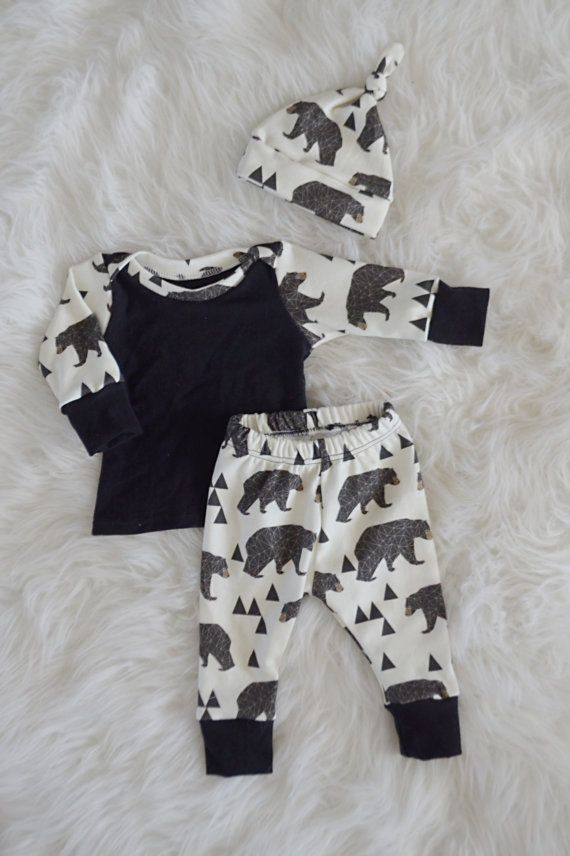 This set comes with a top knot hat, shirt, and leggings. This set is made with 100% organic cotton knit material. It is buttery