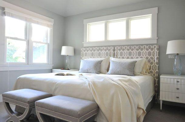bluegray bedroom white trim clerestory windows above