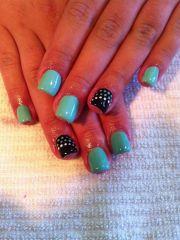 teal & black gel nails beautiful