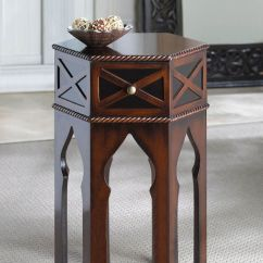 Moroccan Sofa Design Hariston Shitake Accent Bedside Or End Table Round Top Dark Brown ...