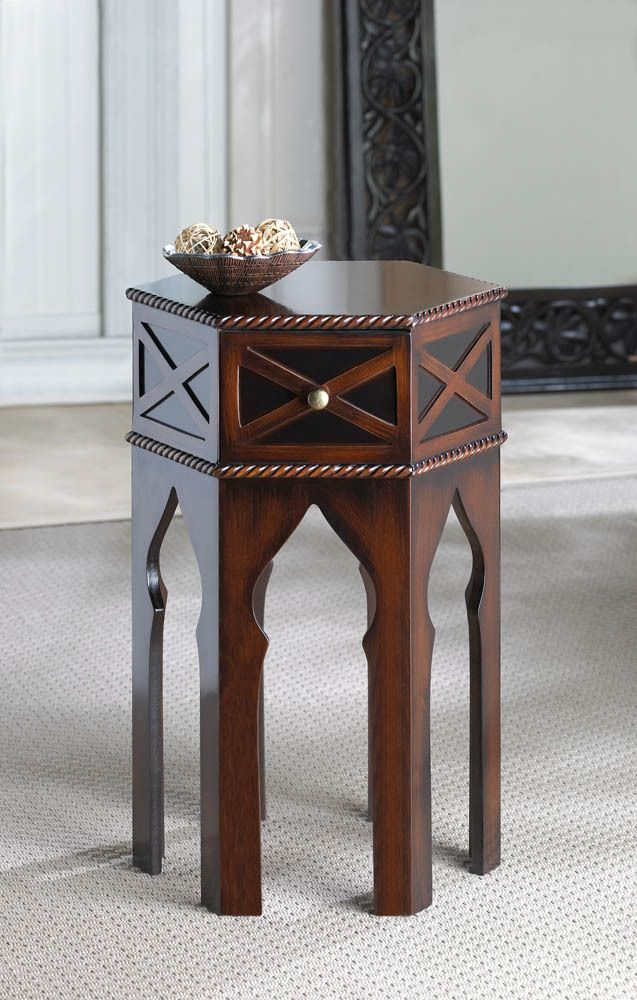 dark brown sofa design cost of moroccan accent bedside or end table round top ...